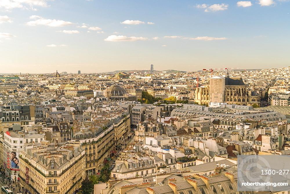 View from Square de la Tour Saint-Jacques towards 2nd Arrondissement, Paris, France, Europe