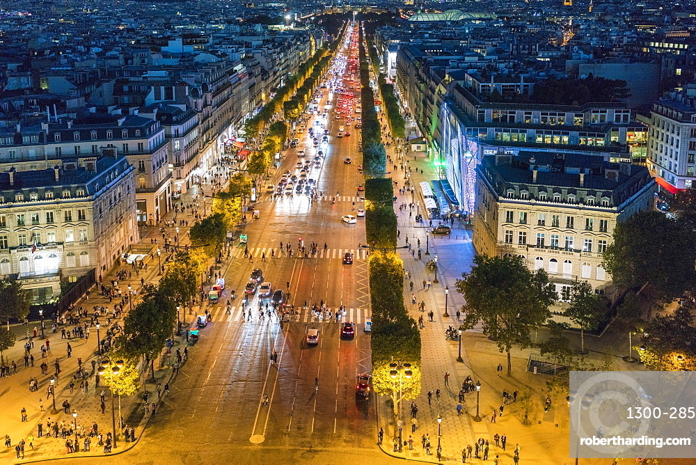 Avenue des Champs-Elysees at night, Paris, France, Europe