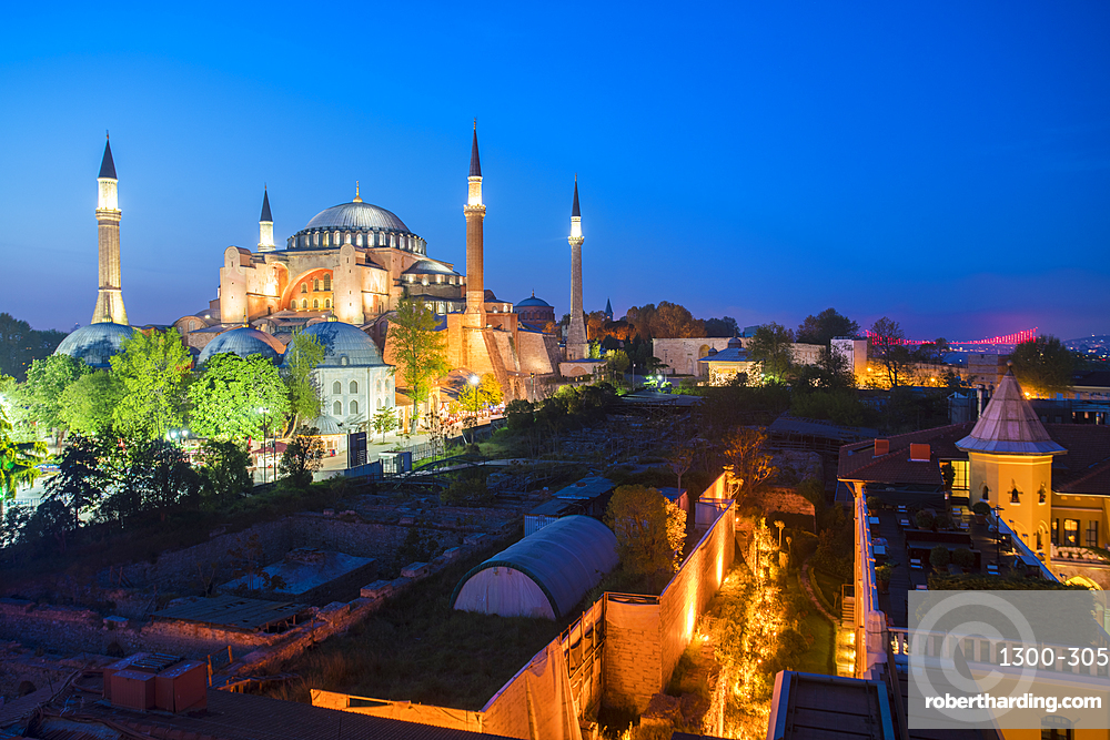 Hagia Sofia, UNESCO World Heritage Site, at night with the Four Seasons Hotel on the right, Istanbul, Turkey, Europe