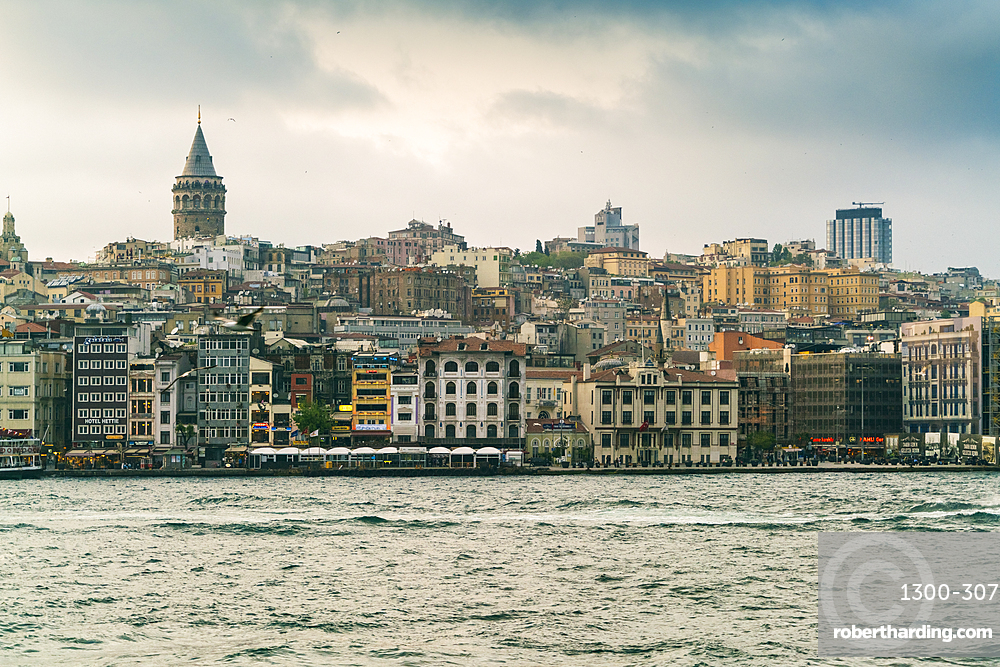 View of Karakoy and the Galata Tower from the Bosphorus, Istanbul, Turkey, Europe
