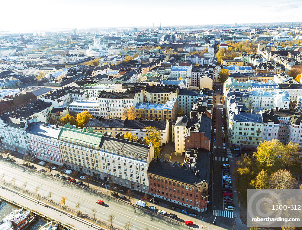 Helsinki city center from above, Helsinki, Finland, Europe