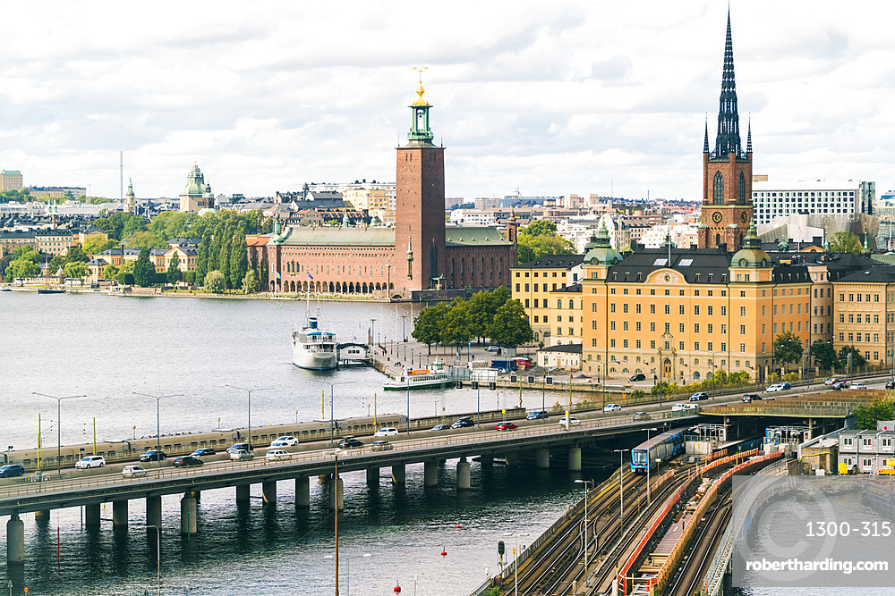 The townhall and the old part of Stockholm viewed from Slussen, Stockholm, Sweden, Scandinavia, Europe