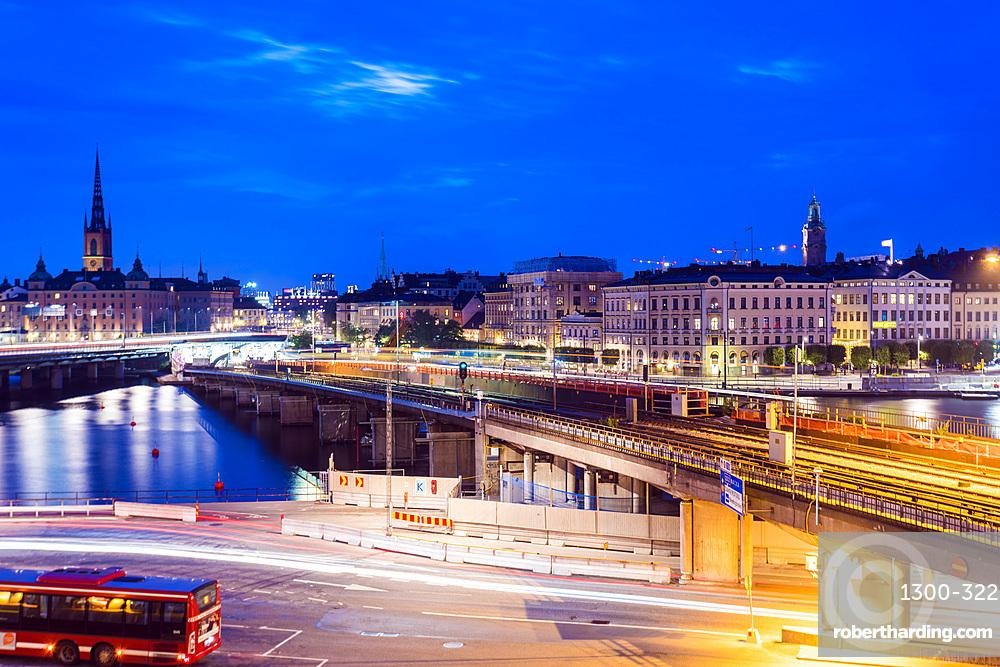 Slussen at night, Stockholm, Sweden, Scandinavia, Europe