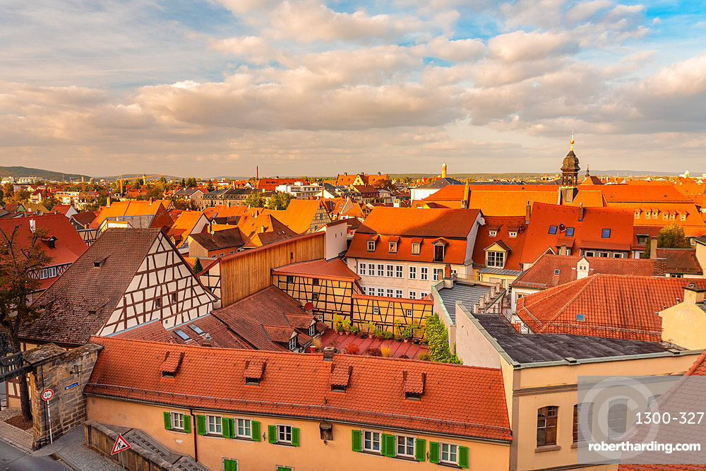 View of Bamberg old city from above, Bamberg, UNESCO World Heritage Site, Bavaria, Germany, Europe