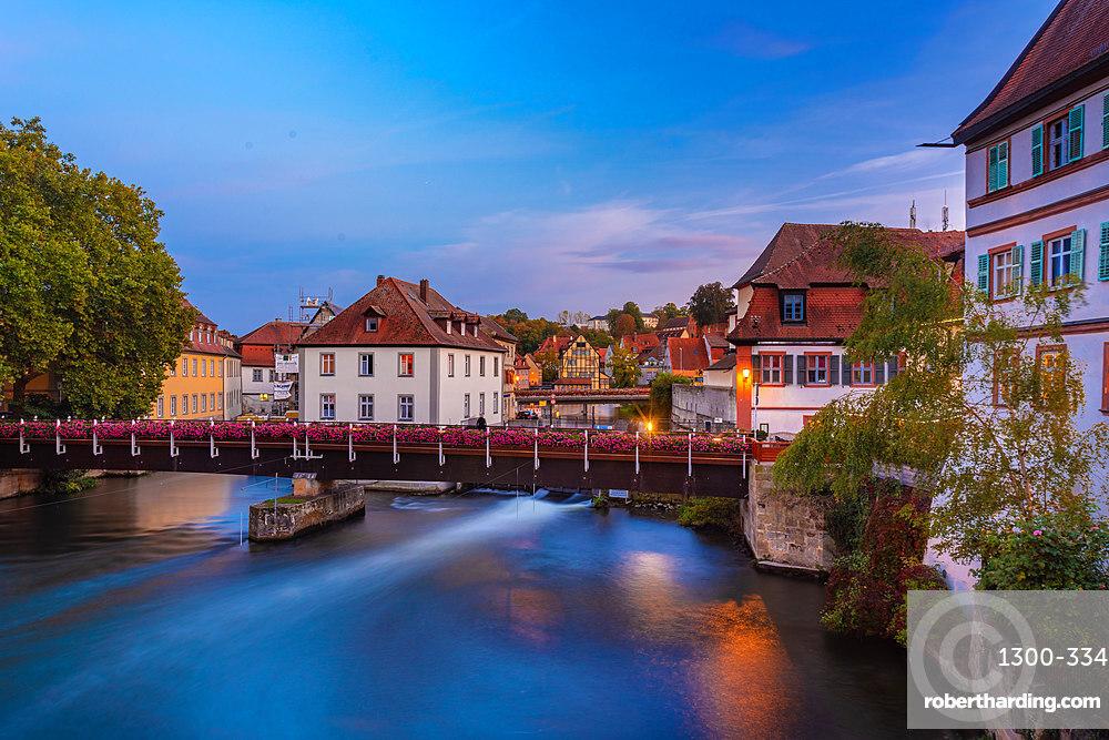 Old historic building on the Linker Regnitzarm. Bamberg, UNESCO World Heritage Site, Bavaria, Germany, Europe
