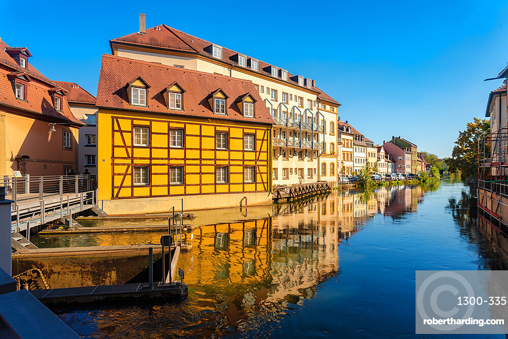 Historic houses by the river in the city center of Bamberg, UNESCO World Heritage Site, Bavaria, Germany, Europe