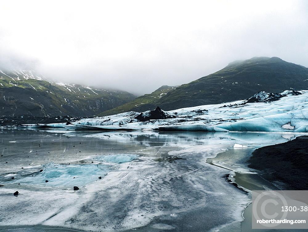 Solheimajokull Glacier in southern Iceland, between the volcanoes Katla and Eijafjallajokull, Iceland, Polar Regions
