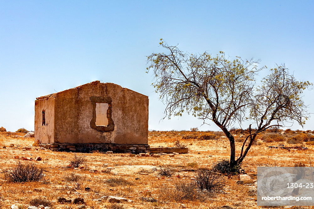 Old and disused farmhouse, ruins in the South African Desert - Northern Cape. North of Springbok.