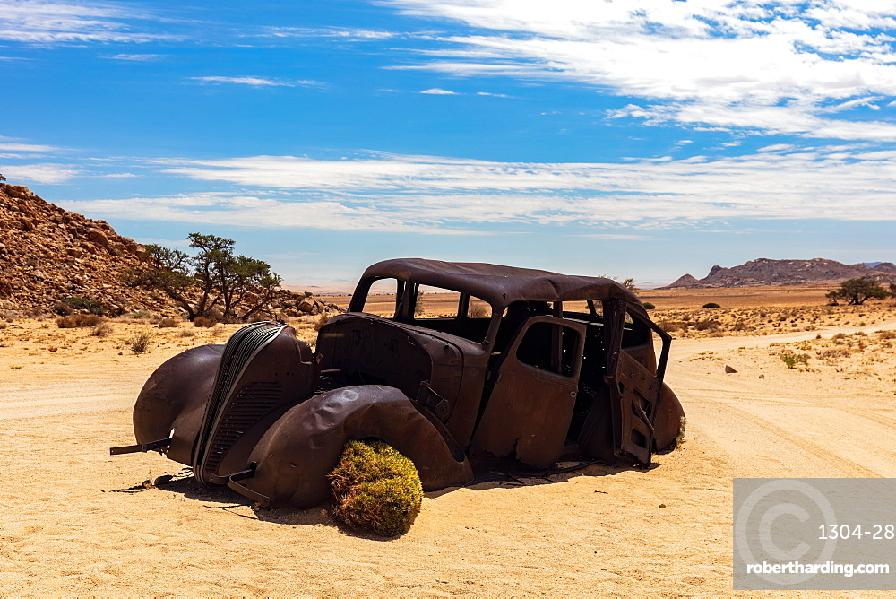 An Abandoned car that was shot down in a Diamond Heist in 1934 within Aus Vista,