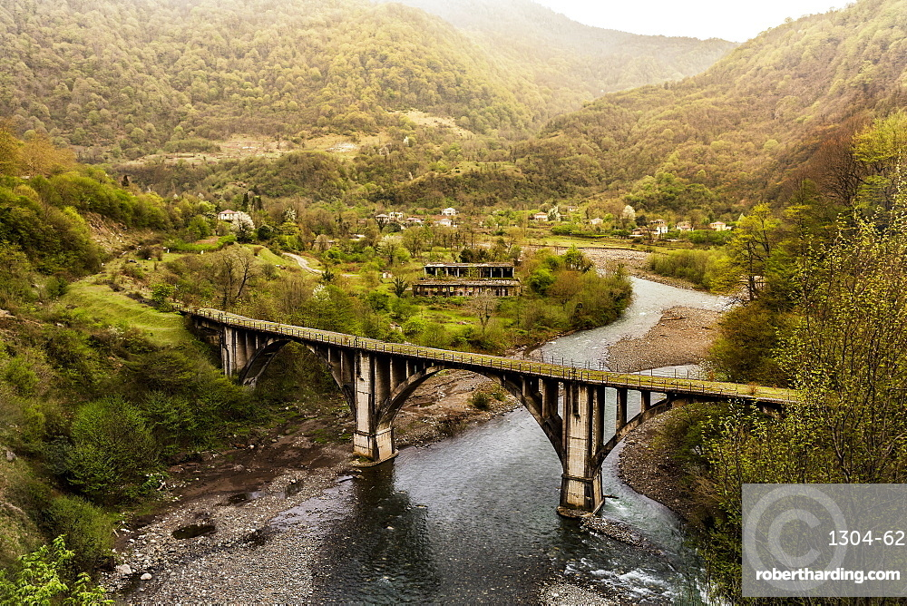 An abandoned railway bridge in Abkhazia, Akhmara region, Georgia, Central Asia, Asia
