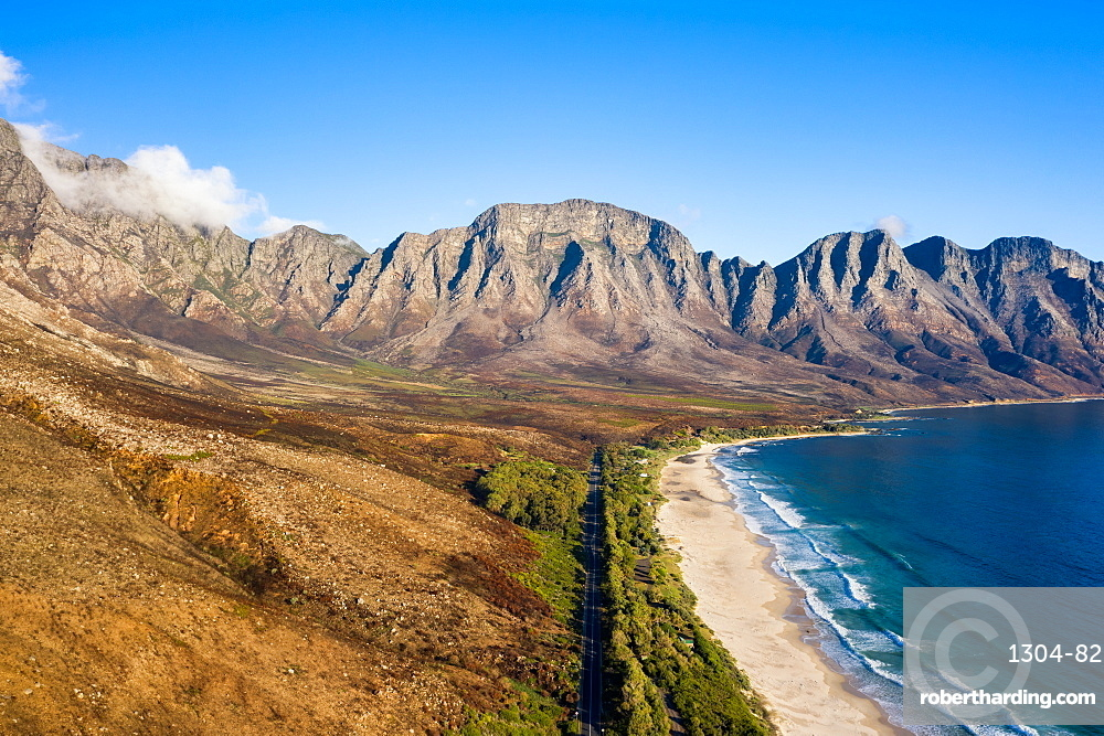 Kogel Bay Beach an hour from Cape Town, South Africa. Drone imagery.