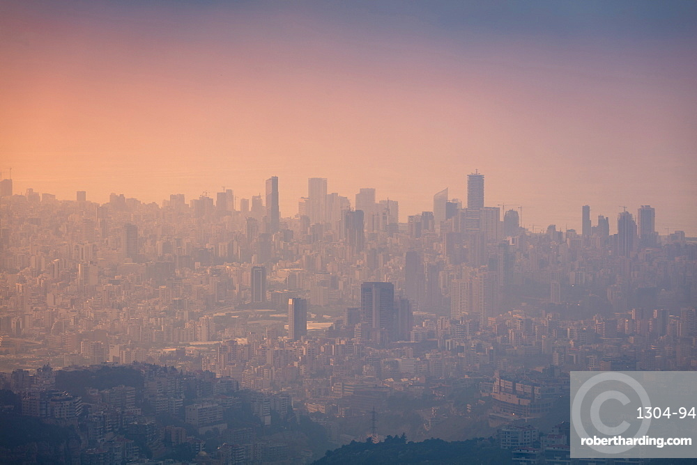 Looking towards Beirut to Aley (high ground) - this was during golden hour on a hazy day.