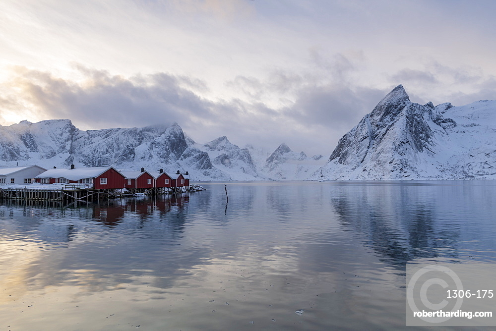 Fishing village in winter, Hamnoy, Lofoten Islands, Arctic, Norway, Europe