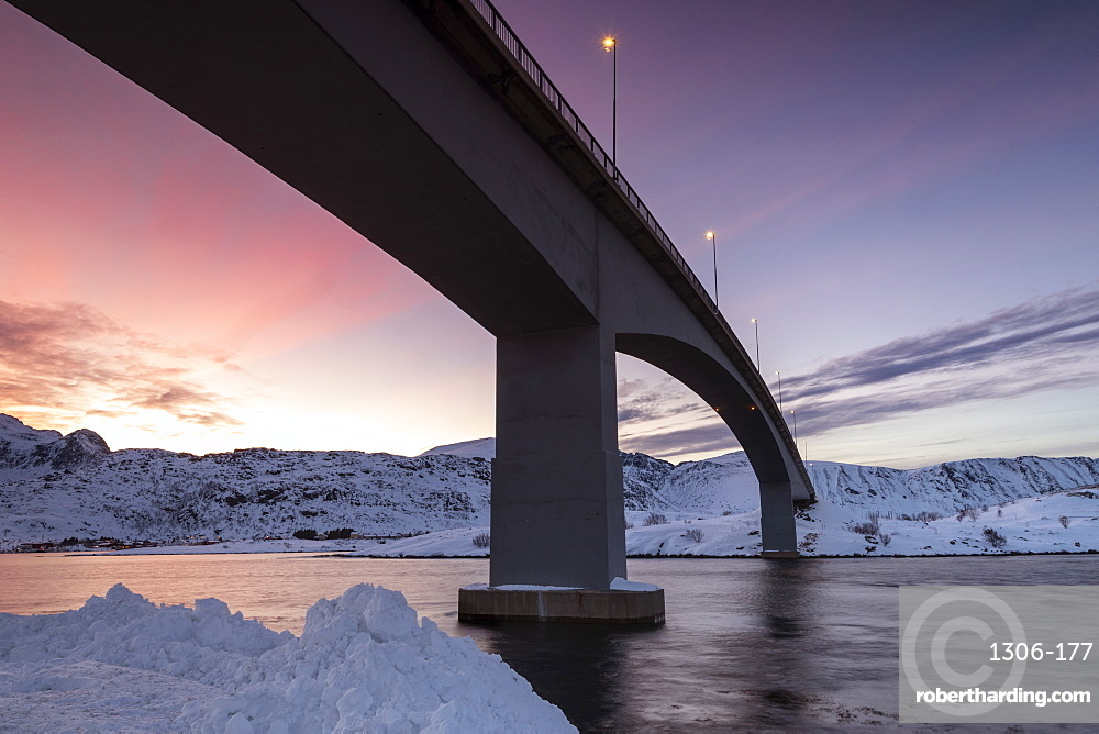 Fredvang Bridge at night, Lofoten, Arctic, Norway, Europe