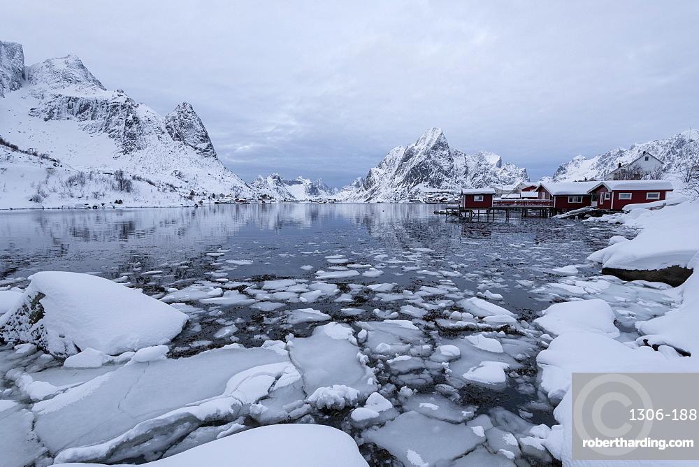 Reine in winter, Moskenes, in the Lofoten Islands, Arctic, Norway, Europe