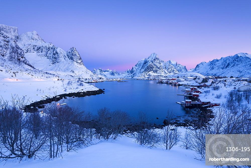 Sunrise at Fishing village Reine in winter, Reinefjord, Moskenesoya, Lofoten, Arctic, Norway, Europe