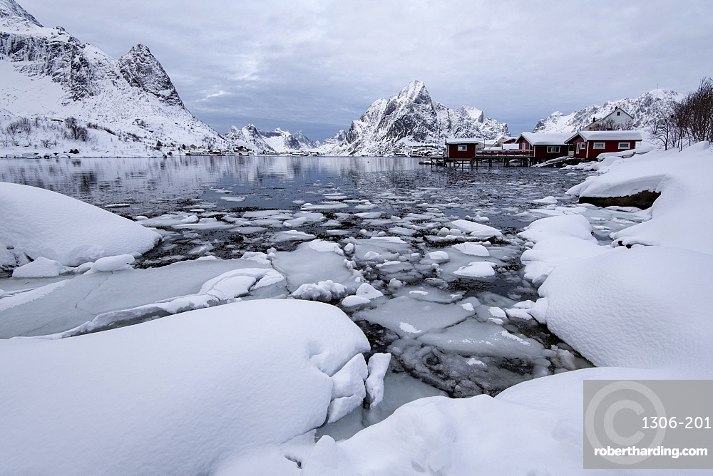 Traditional houses at Reine, Moskenes, in the Lofoten Islands in winter, Arctic, Norway, Europe
