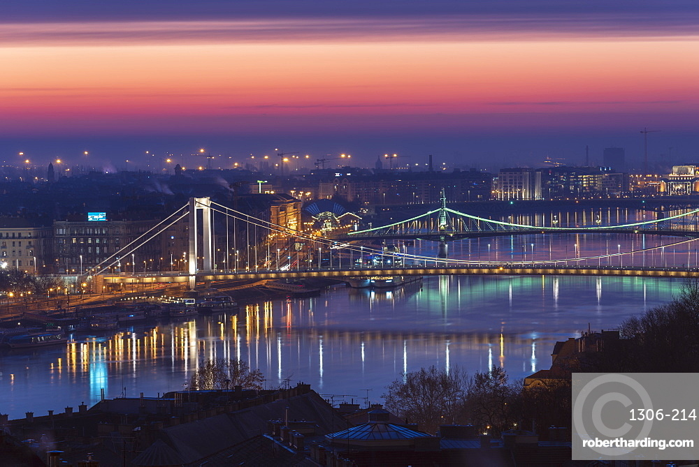 Dawn colours over the Danube with Elisabeth Bridge and Liberty Bridge in Budapest, Hungary