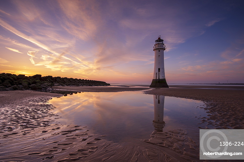 Perch Rock lighthouse with dramatic sky, New Brighton, The Wirral, Cheshire