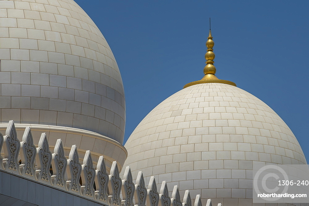 Roof detail of The Grand Mosque, Abu Dhabi, United Arab Emirates, Middle East