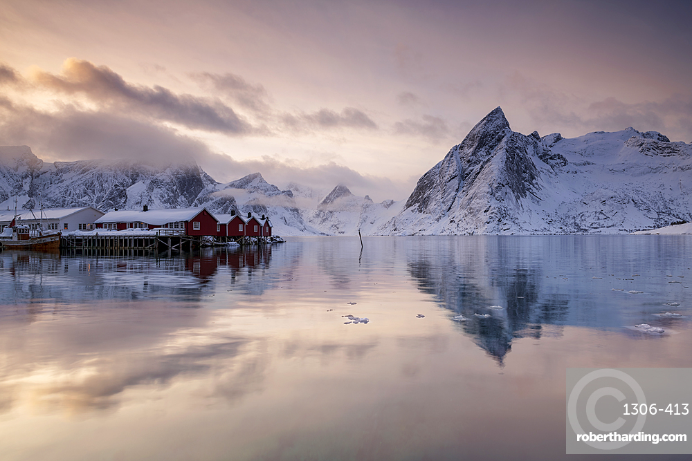 Hamnoy fishing village in winter, Hamnoy, Lofoten Islands, Norway