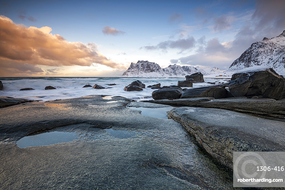 Rock formations at Uttakleiv Beach, Vestvagoy, Lofoten Islands, Nordland, Norway