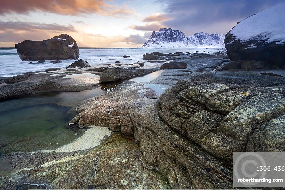 Winter scene at Haukland Beach, Lofoten, Nordland, Norway, Europe