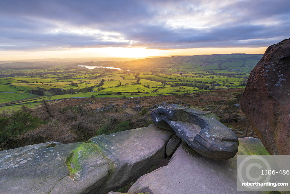 Sunset over Tittersworth Reservoir at The Roaches, Peak District National Park, Staffordshire