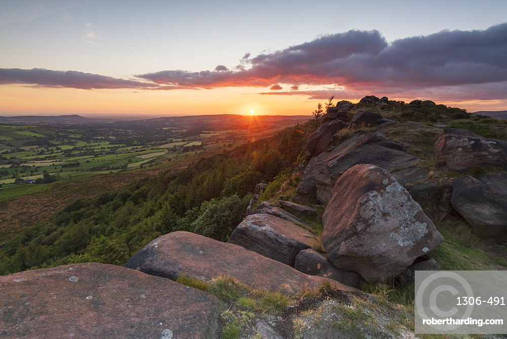 Sunset at The Roaches, Peak District National Park, Staffordshire, England, United Kingdom, Europe