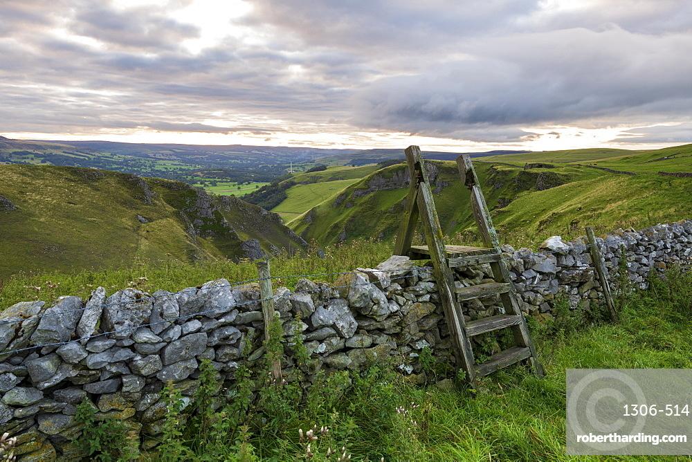 Elevated view of Winnats Pass, Winnats Pass, Hope Valley, Derbyshire