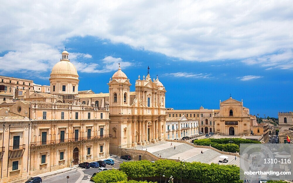 View to the Cathedral of San Nicolo from roof of the Church of San Carlo al Corso, Noto, Syracuse, aka Siracusa, Sicily, Italy