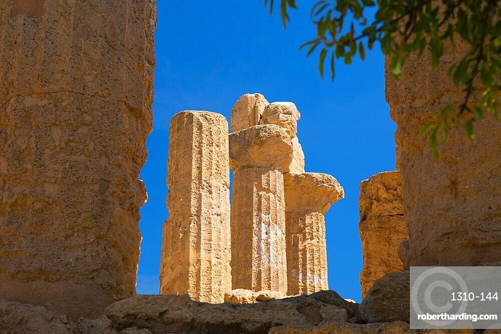 Fluted sandstone columns of the Temple of Hera, aka Juno, in the UNESCO listed Valley of the Temples, Agrigento, Sicily, Italy