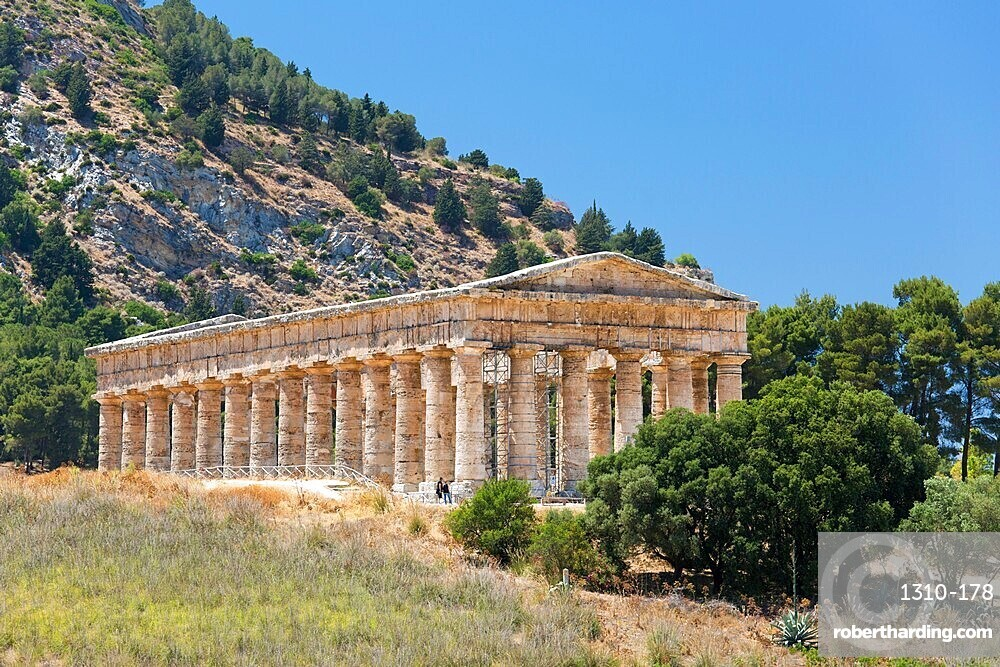 Well-preserved remains of the Doric temple at the ancient Greek city of Segesta, Calatafimi, Trapani, Sicily, Italy