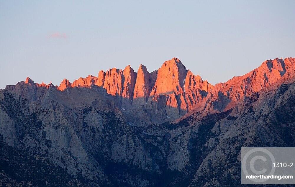 View from the Alabama Hills to the summit of Mount Whitney, sunrise, Lone Pine, Owens Valley, California, United States of America, North America