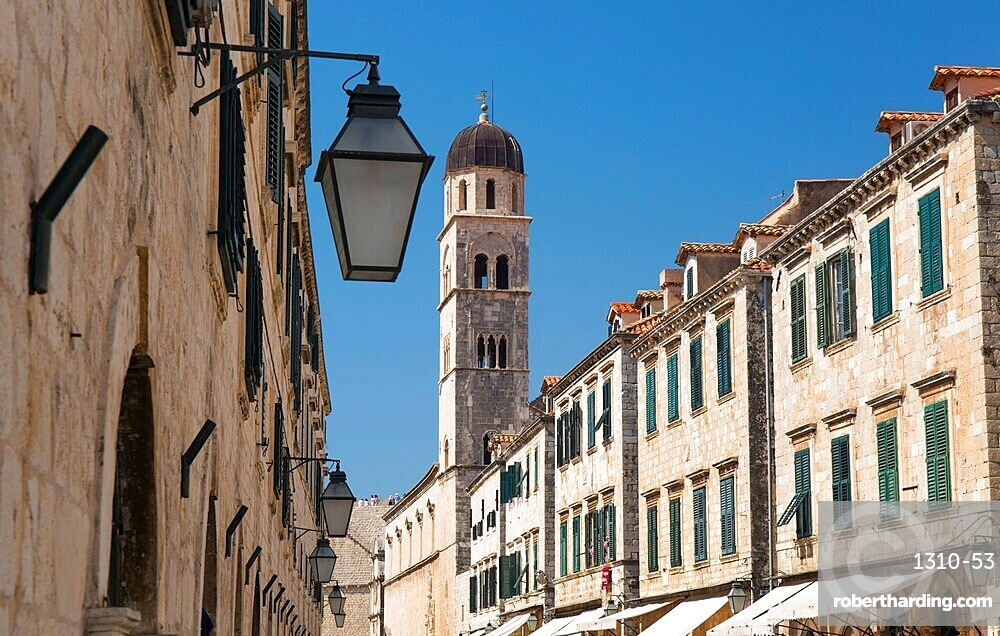 View along Stradun (Placa), to bell-tower of the Franciscan Monastery, Dubrovnik, Dubrovnik-Neretva, Dalmatia, Croatia, Europe