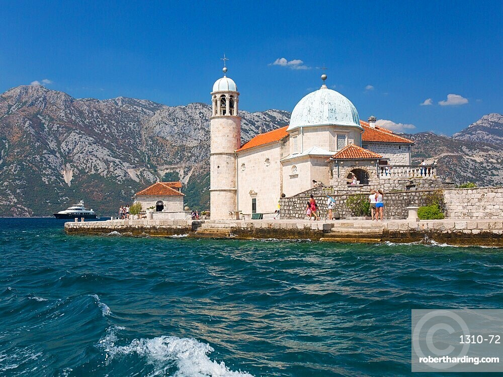 View from sea to the Church of Our Lady of the Rocks, Gospa od Skrpjela, Bay of Kotor, Perast, Kotor, UNESCO World Heritage Site, Montenegro, Europe