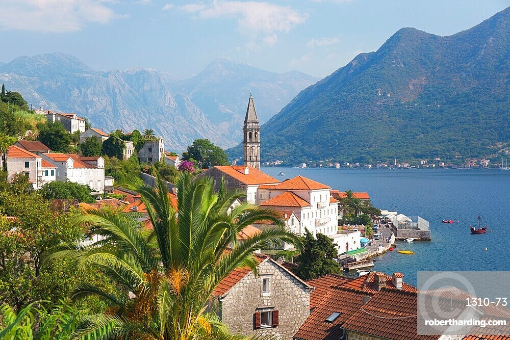 View over roofs to the Bay of Kotor, campanile of the Church of St. Nicholas (Sveti Nikola), prominent, Perast, Kotor, UNESCO World Heritage Site, Montenegro, Europe