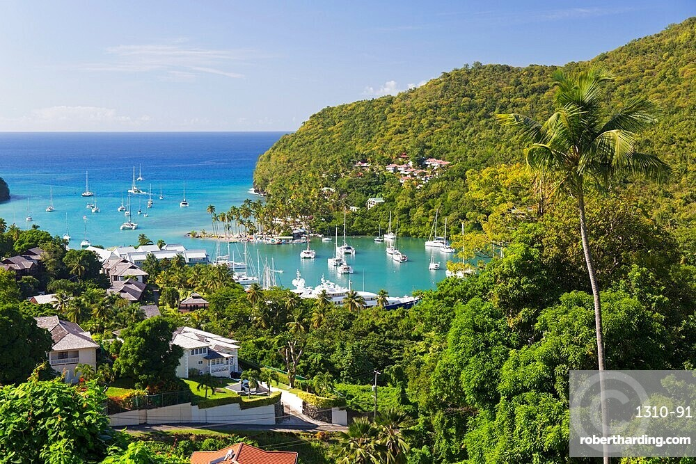 View over the village and harbour to the Caribbean Sea, Marigot Bay, Castries, St Lucia, Lesser Antilles, West Indies