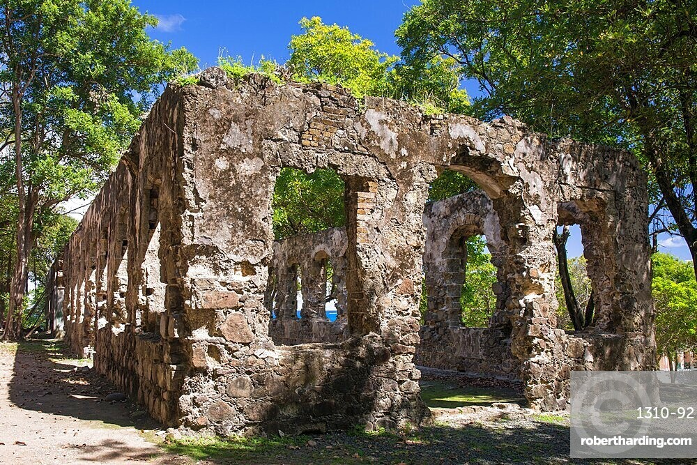 Historic military ruins, Pigeon Island National Landmark, Gros Islet, St Lucia, Lesser Antilles, West Indies
