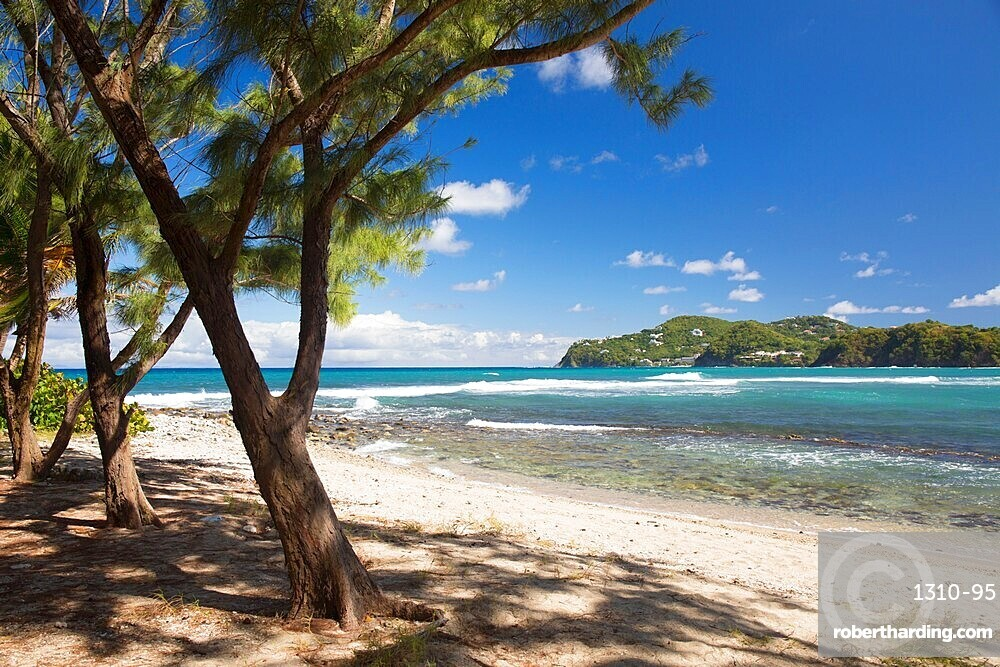 View across the Caribbean Sea from beach, Pigeon Island National Landmark, Gros Islet, St Lucia, Lesser Antilles, West Indies
