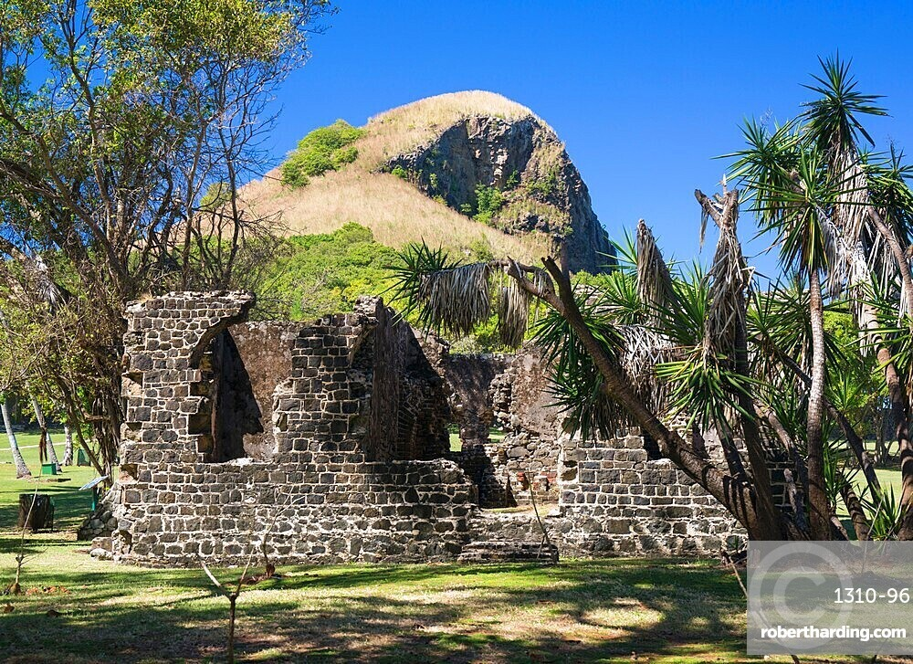 Historic military ruins below Signal Peak, Pigeon Island National Landmark, Gros Islet, St Lucia, Lesser Antilles, West Indies