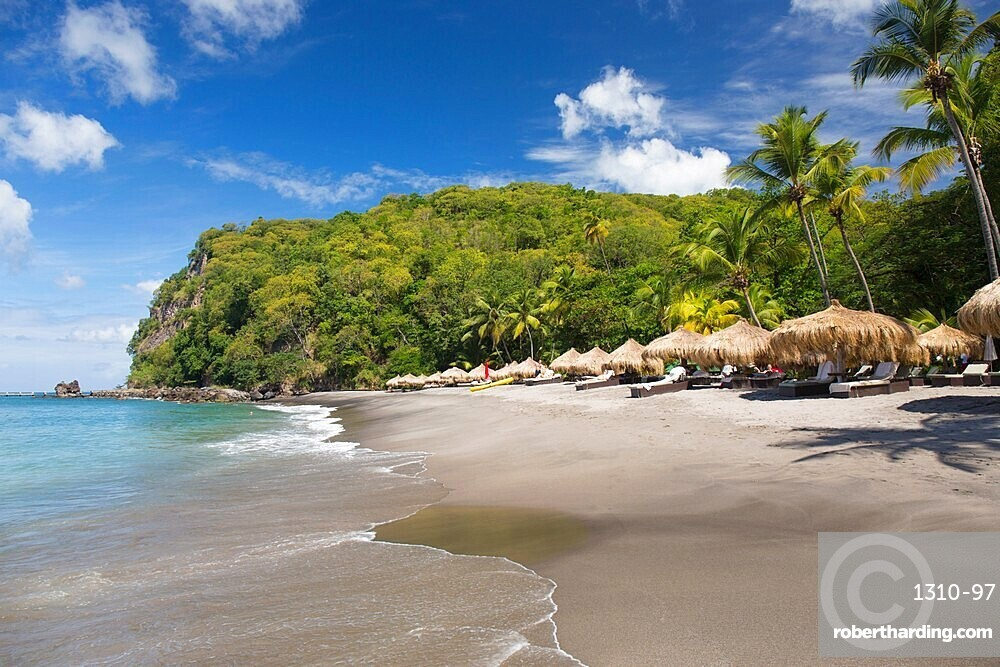 View along beach from the water's edge, Anse Chastanet, Soufriere, St Lucia, Lesser Antilles, West Indies