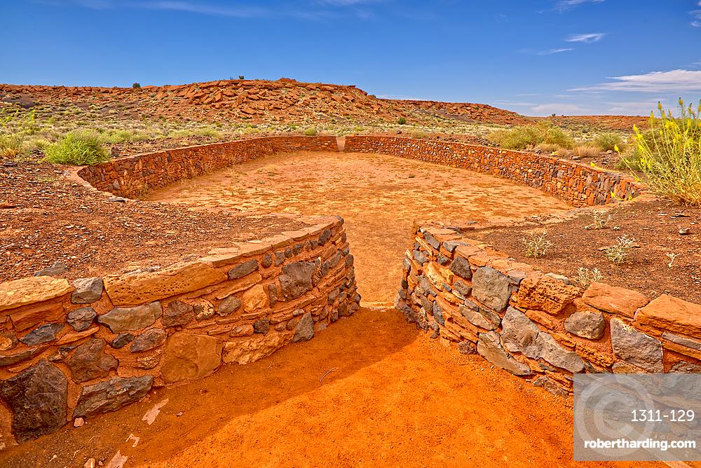 The Ball Court of the Wupatki Pueblo Ruins at the Wupatki National Monument, Arizona, United States of America, North America