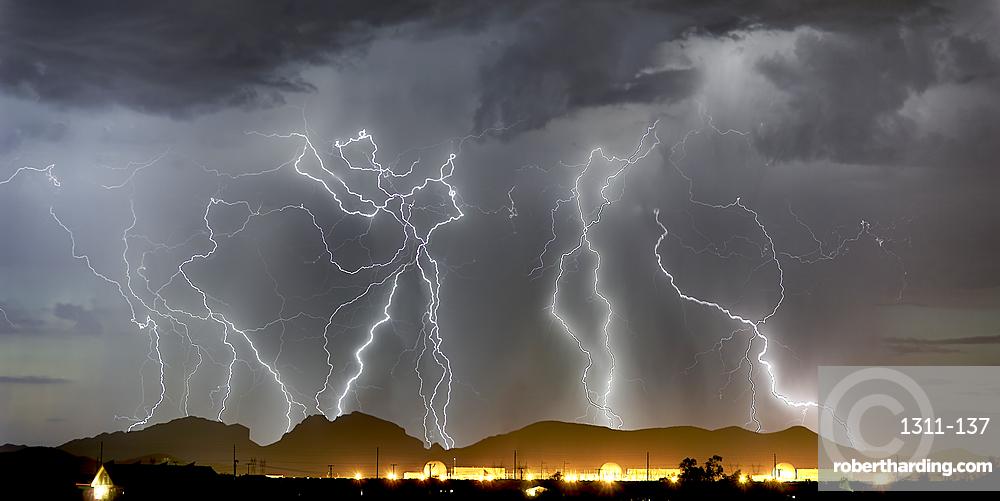 Lightning striking Saddleback Mountain just west of Tonopah, Arizona.
