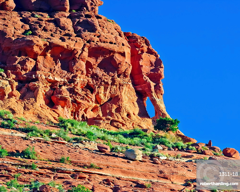 A famous rock arch formation in Sedona on the top of Mitten Ridge known as Elephant Head Arch, Arizona, United States of America, North America