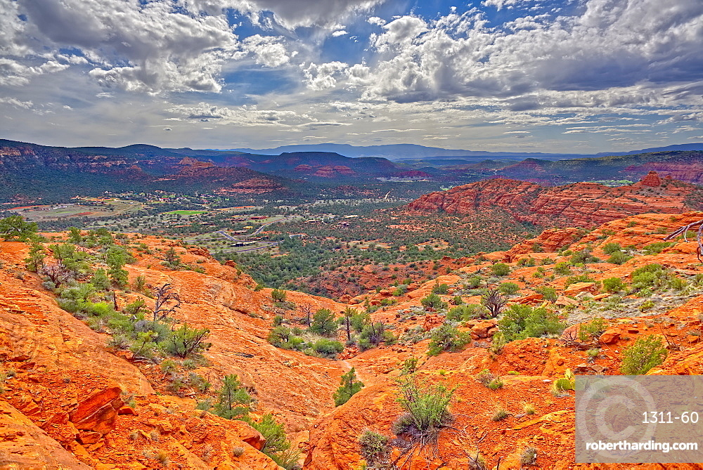A view of western Sedona from a cliff on the south side of Cathedral Rock.