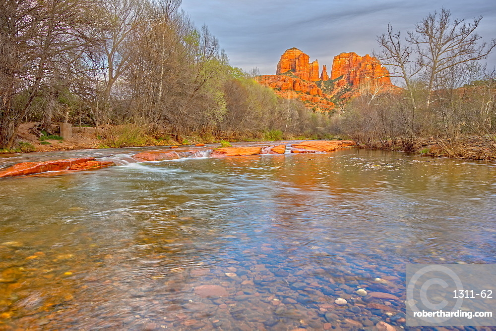 View of Cathedral Rock in Sedona AZ from the middle of Oak Creek.