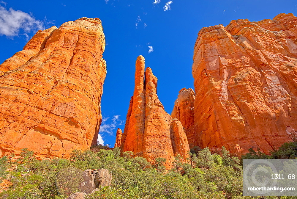 The Central Spires of Cathedral Rock viewed from the west side of the formation. Located in Sedona AZ.