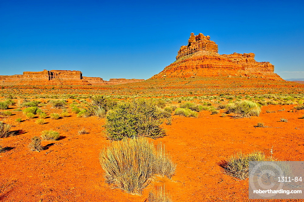A formation in Valley of the Gods Utah called Battleship Rock. Located near the town Mexican Hat.