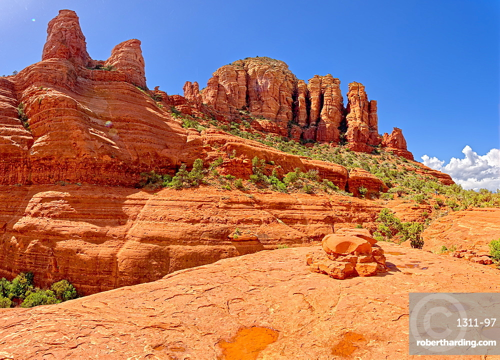 View of the Twin Buttes in Sedona from the edge of Chicken Point. It was sprinkling rain at the time of this shot.